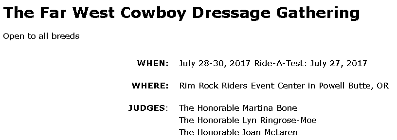 The Far West Cowboy Dressage Gathering @ Rim Rock Riders Event Center | Powell Butte | Oregon | United States