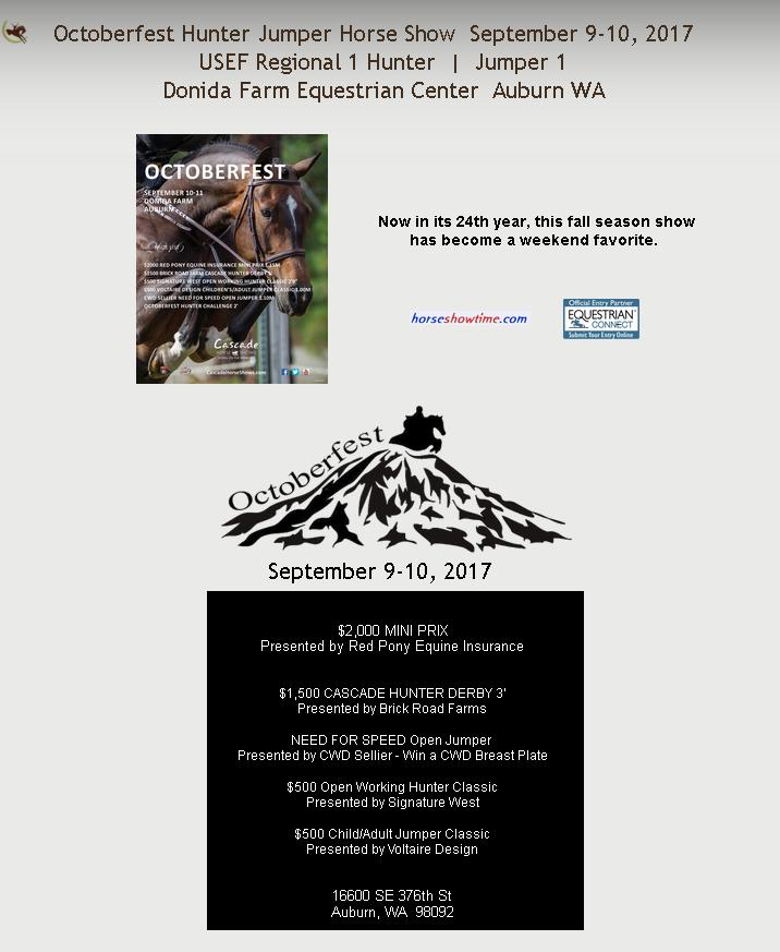 Octoberfest Hunter Jumper Horse Show @ Donida Farm Equestrian Center | Auburn | Washington | United States