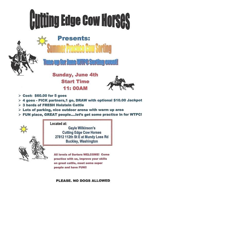 Summer Practice Cow Sorting @ Cutting Edge Cow Horses | Buckley | Washington | United States