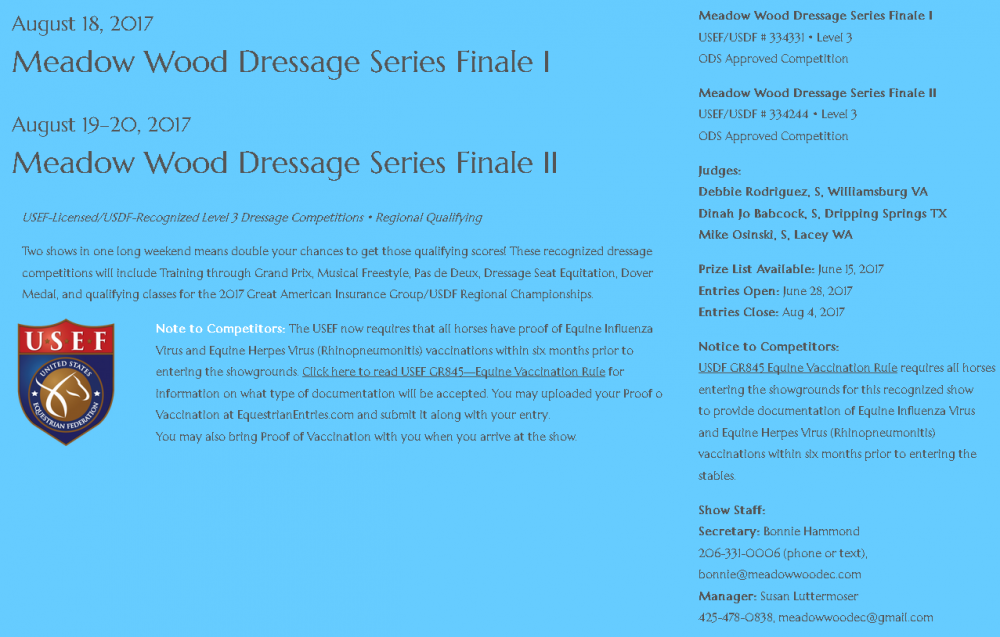 Meadow Wood Dressage Series Finale @ Meadow Wood Equestrian Center | Snohomish | Washington | United States