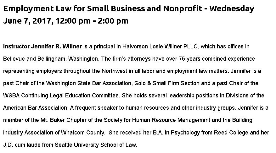 Employment Law for Small Business & Non-Profit @ SVC Craft Brew Academy | Burlington | Washington | United States