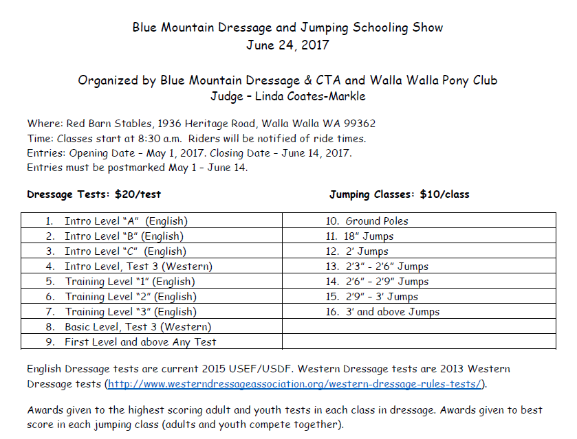 Blue Mountain Dressage & Jumping Schooling Show @ Red Barn Stables | Walla Walla | Washington | United States