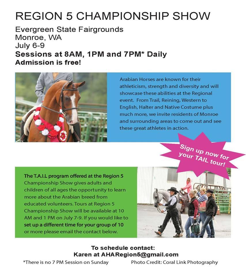 Region 5 Championship Show TAIL TOURS! @ Evergreen State Equestrian Park | Monroe | Washington | United States