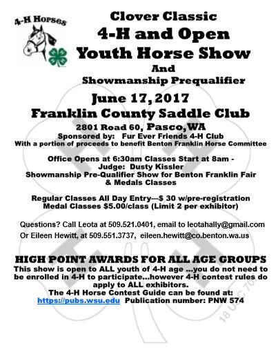 Clover Classic 4-H & Open Youth Show @ Franklin County Saddle Club | Pasco | Washington | United States