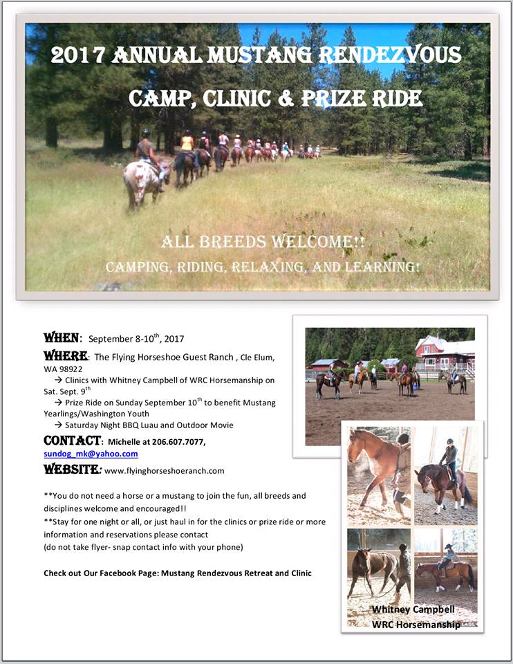 Annual Mustang Rendezvous Camp, Clinic, & Prize Ride @ Flying Horseshoe Ranch | Cle Elum | Washington | United States