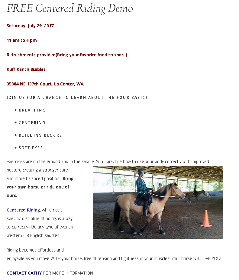 Centered Riding Demonstration @ Ruff Ranch Stables | La Center | Washington | United States