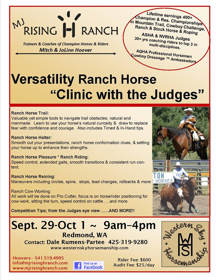 Clinic with the Judges @ Western Sky Horsemanship | Redmond | Washington | United States