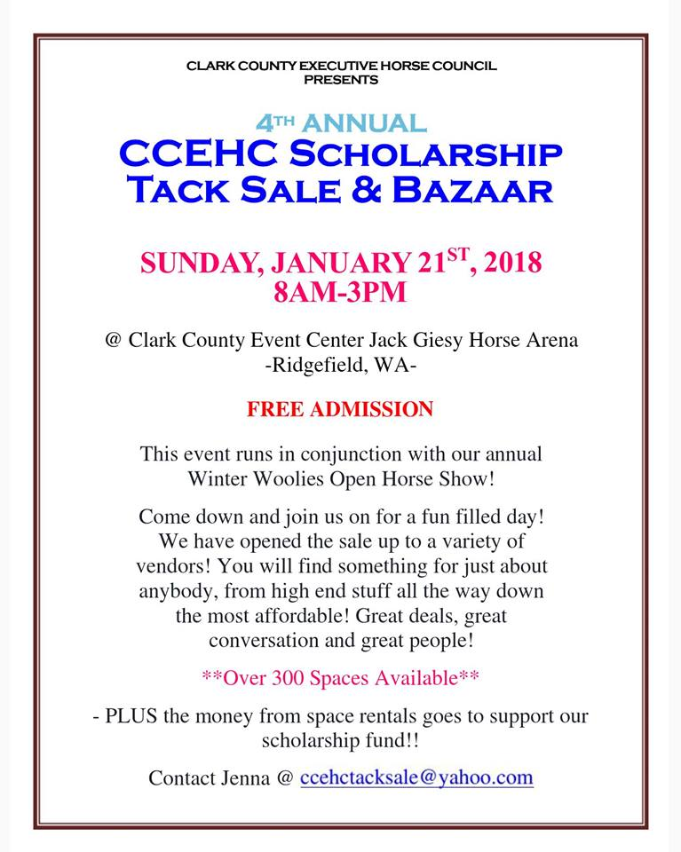 CCEHC 4th Annual Tack Sale & Bazaar @ Jack Giesey Horse Arena @ Clark County Fairgrounds | Ridgefield | Washington | United States
