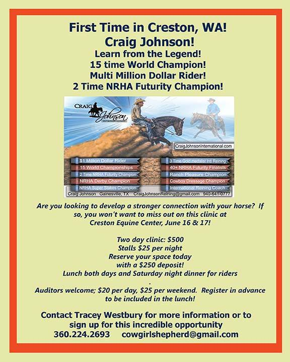 Cancelled - Craig Johnson Clinic @ Creston Equine Center | Creston | Washington | United States