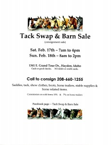 2 Day ~ 21st Annual HUGE Tack Swap and Barn Sale (consignment sale) @  2 Day ~ 21st Annual HUGE Tack Swap & Barn Sale (consignment sale)  | Hayden | Idaho | United States
