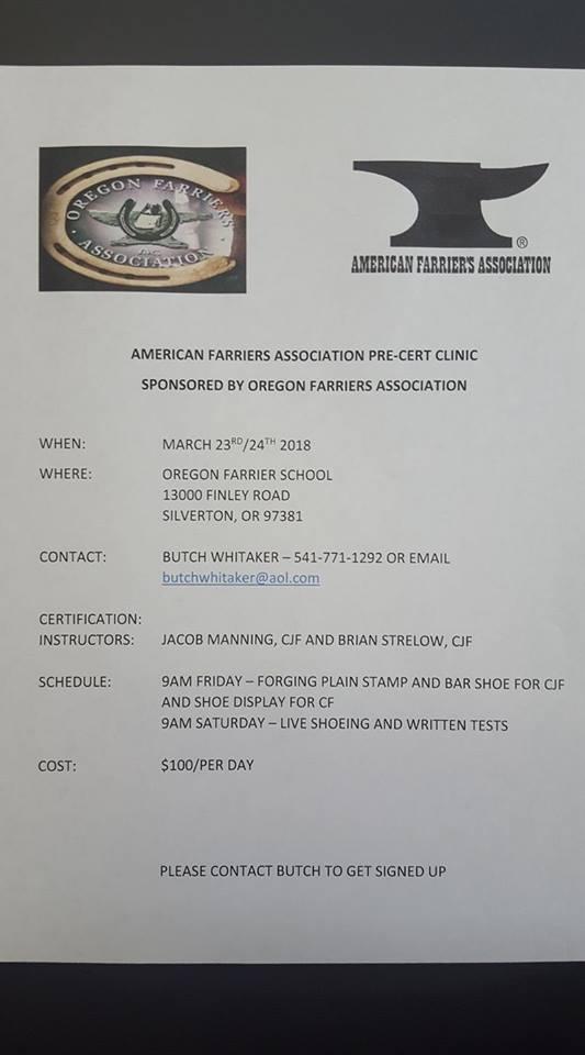 Farriers Pre-cert clinic in Oregon @ Oregon Farrier School | Silverton | Oregon | United States