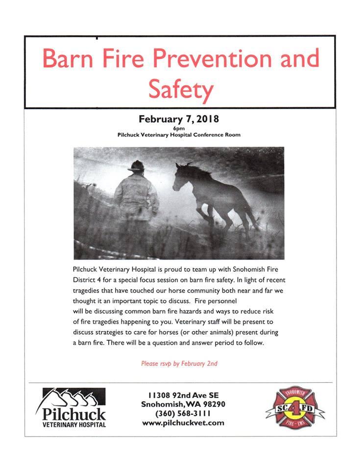 Barn Fire Prevention & Safety @ Pilchuck Veterinary Hospital | Snohomish | Washington | United States