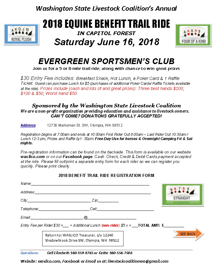 2018 Equine Benefit Trail Ride @ Evergreen Sportsmen's Club | Olympia | Washington | United States
