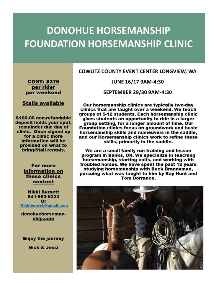 DONOHUE HORSEMANSHIP FOUNDATION CLINIC @ COWLITZ COUNTY EVENT CENTER | Longview | Washington | United States