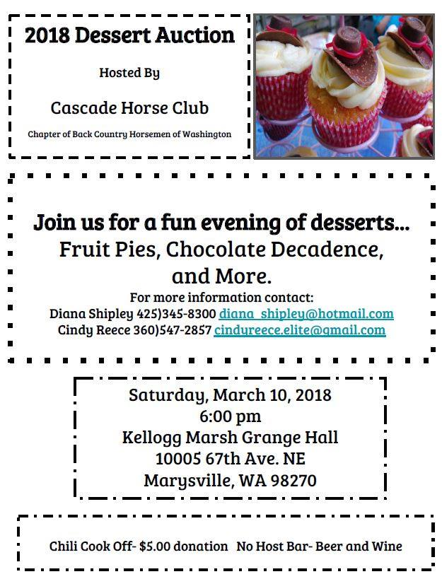 Cascade Horse Club BCHW Dessert Auction @ Kellogg Marsh Grange Hall | Marysville | Washington | United States