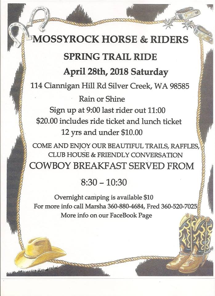 MOSSYROCK Horse and Riders Spring Ride @ pin 	 Mossyrock Horse and Riders Club | Silver Creek | Washington | United States