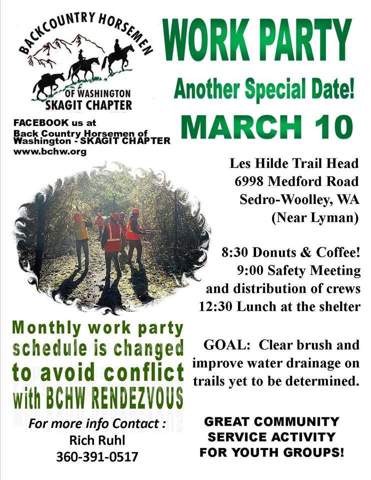 Skagit BCHW 2018 March Work Party @ Les Hilde / Harry Osborne Trailhead | Sedro-Woolley | Washington | United States