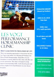 Les Vogt Horsemanship Clinic-Pendleton Oregon @ Les Vogt Horsemanship Clinic | Pendleton | Oregon | United States