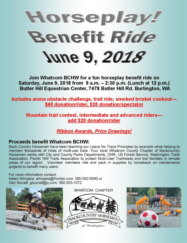 Horseplay, beneift ride, June 9, 2018 flyer