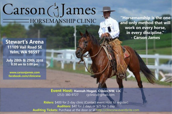 Carson James Horsemanship Clinic @ Stewart's Arena | Yelm | Washington | United States