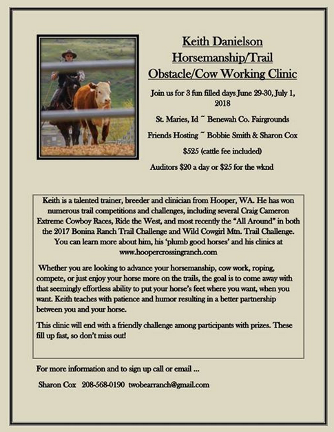 Keith Danielson Horsemanship/Trail/Obstacle/Cow Working Clinic @ Benewah County Fairgrounds | Saint Maries | Idaho | United States
