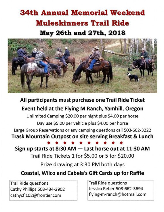 34th Annual Memorial Weekend Muleskinners Trail Ride @ Flying M Ranch | Yamhill | Oregon | United States