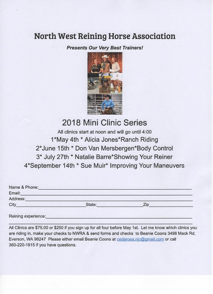Mini Reining Clinic Series @ Northwest Washington Fair and Event Center | Lynden | Washington | United States