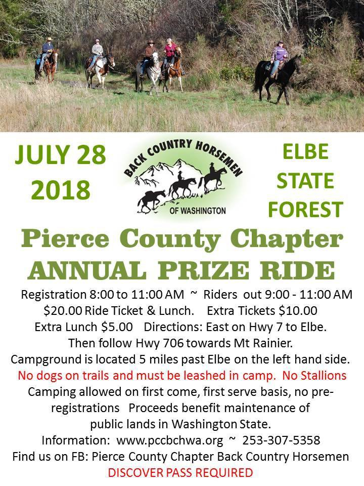 Pierce County Chapter Annual Prize Ride @ Sahara Creek Camp: Elbe Hills Nicholson Horse Trail System | Ashford | Washington | United States