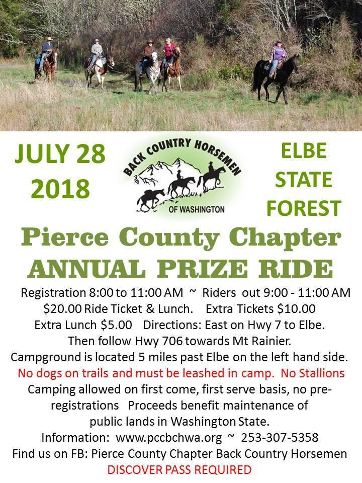 Pierce County Chapter Annual Prize Ride @ Sahara Creek Camp: Elbe Hills Nicholson Horse Trail System | Ashford | Washington | United States