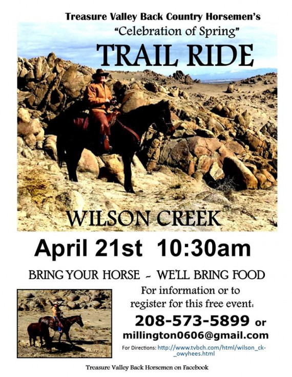 Treasure Valley Back Country Horsemans Celebration of Spring Trail Ride @ Wilson Creek