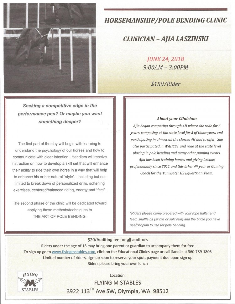 Horsemanship/Pole Bending Clinic @ Flying M Stables | Olympia | Washington | United States