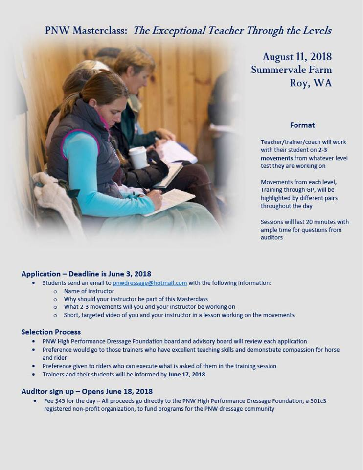 PNW Masterclass:  The Exceptional Teacher Through the Levels @ Summervale Farm | Roy | Washington | United States