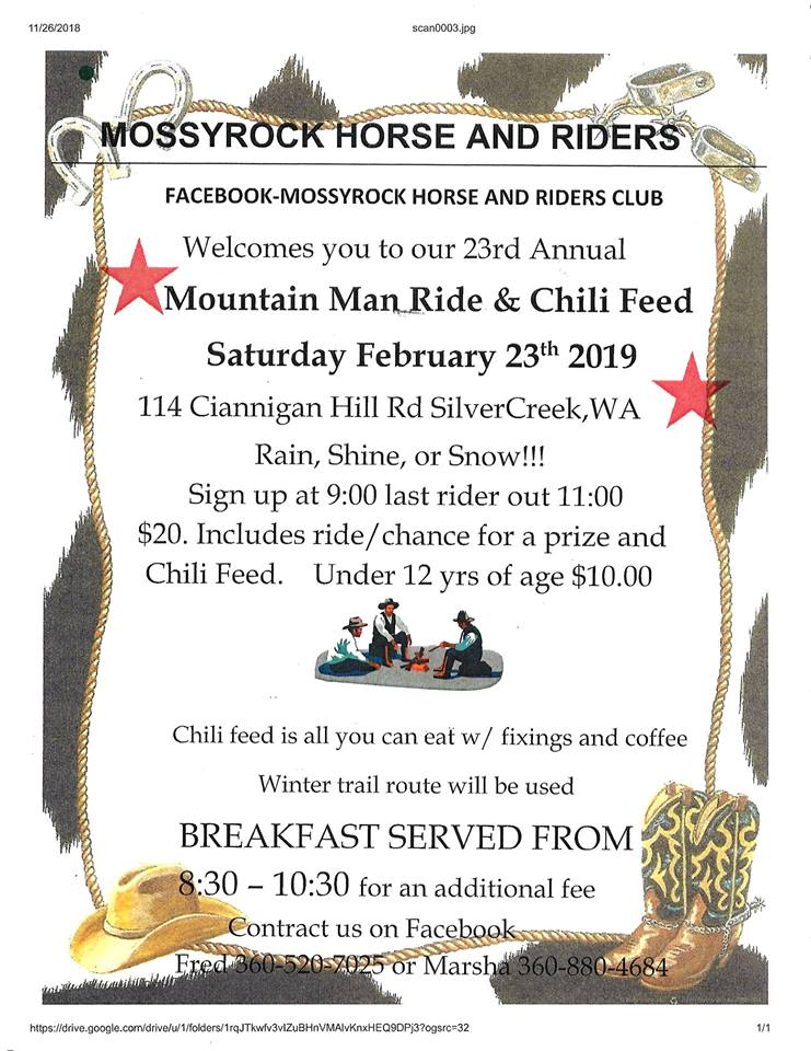 23rd Annual Mountain Man Ride @ Mossyrock Horse and Riders Club | Silver Creek | Washington | United States