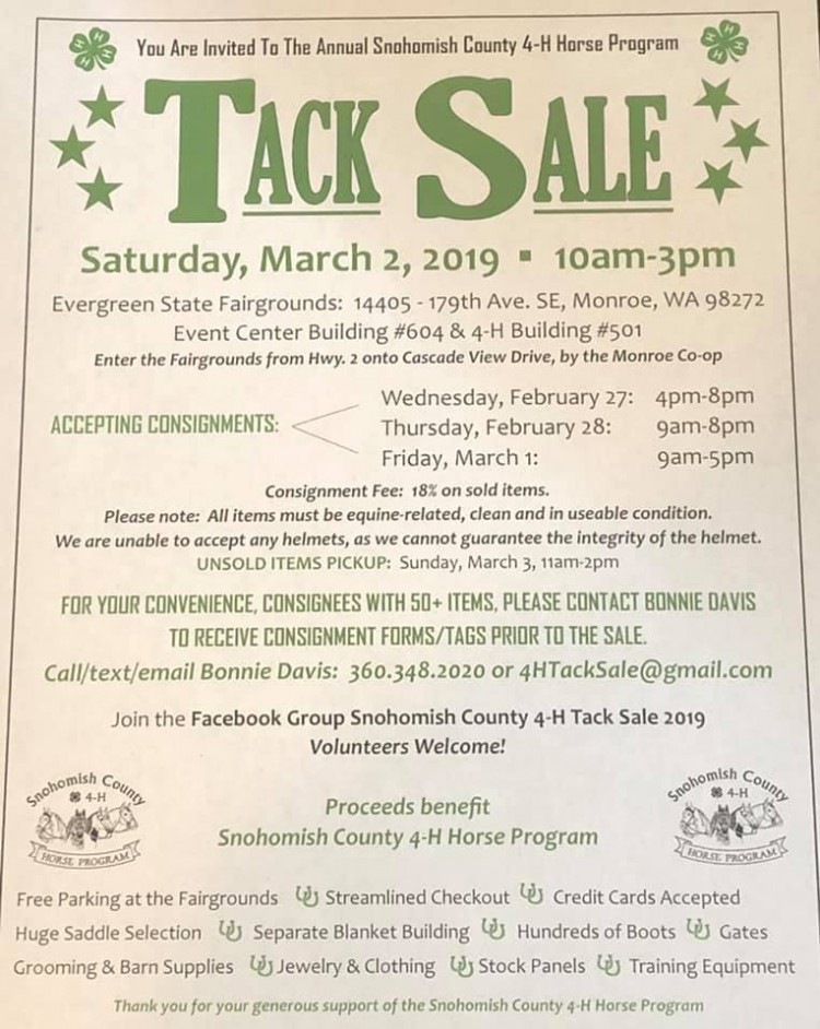TACK SALE @ Evergreen State Equestrian Park | Monroe | Washington | United States