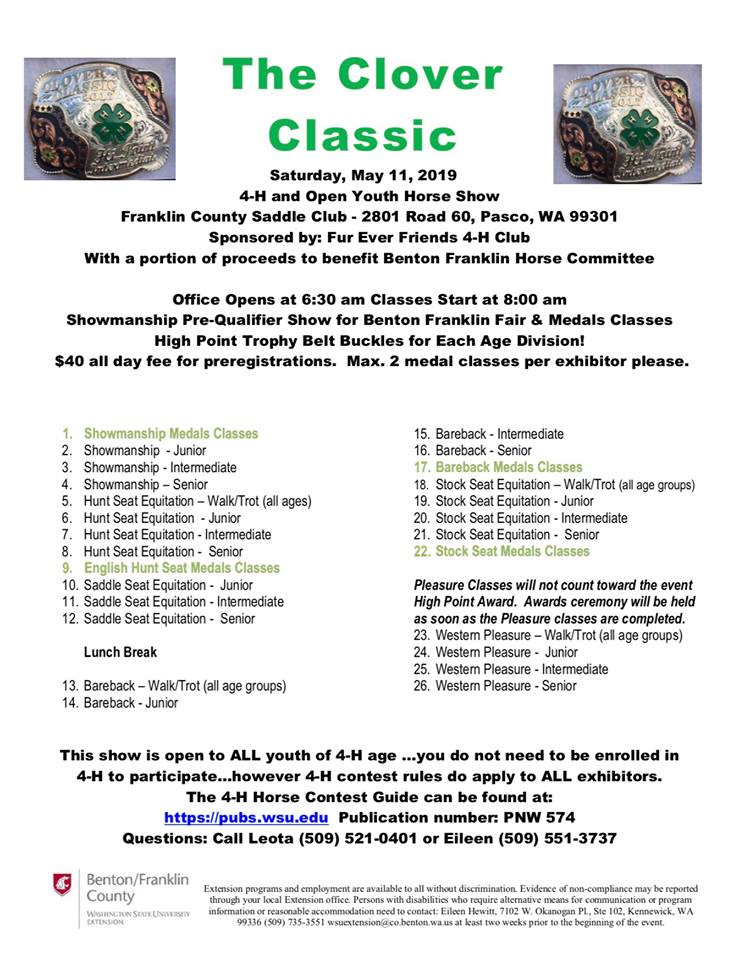 Clover Classic Horse Show Open and 4H @ Franklin County Saddle Club | Pasco | Washington | United States