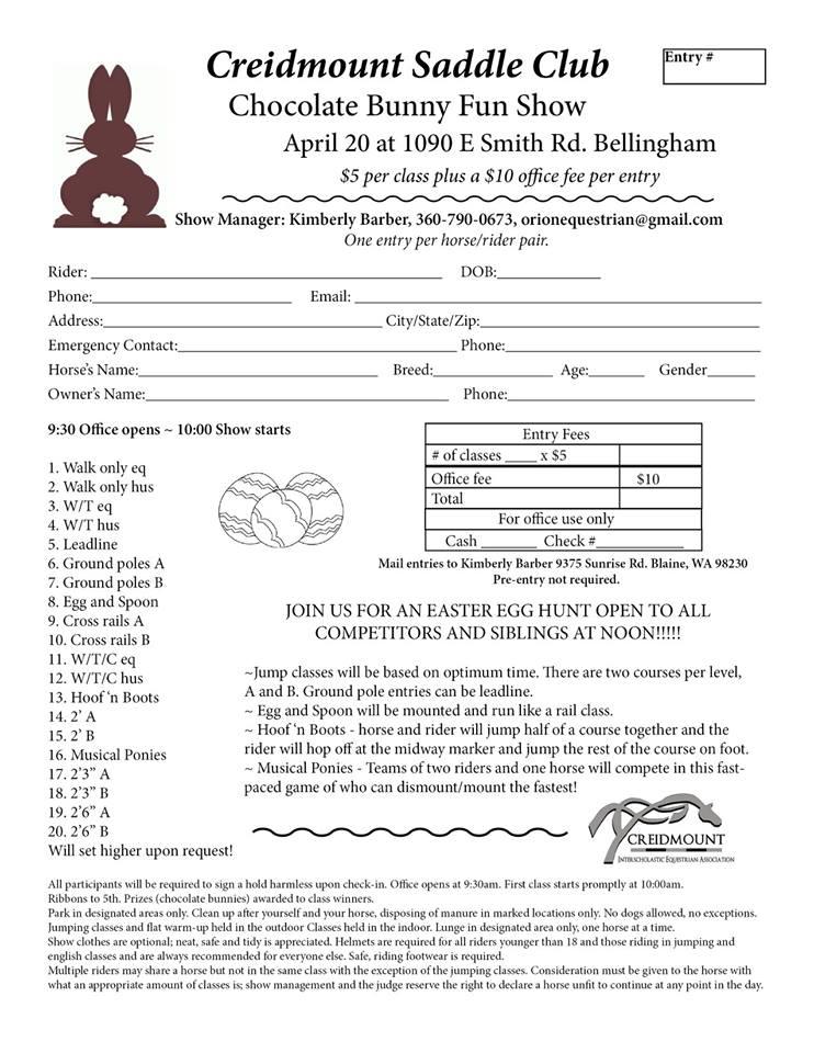 Creidmount Chocolate Bunny Fun Show @ Creidmount Saddle Club | Bellingham | Washington | United States