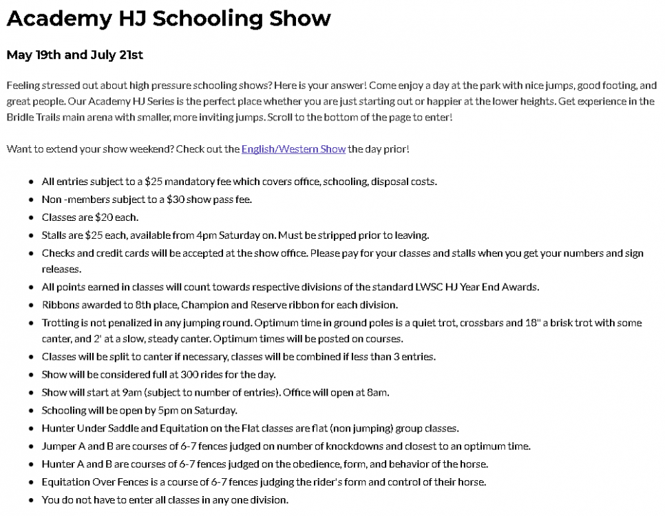 Academy H/J Schooling Show @ Bridle Trails State Park | Kirkland | Washington | United States