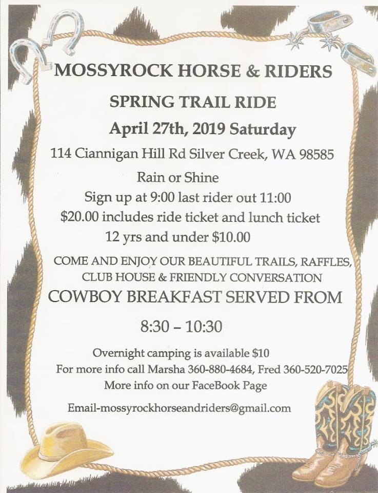 MHRC Spring Ride April 27th @ Mossyrock Horse and Riders Club | Silver Creek | Washington | United States