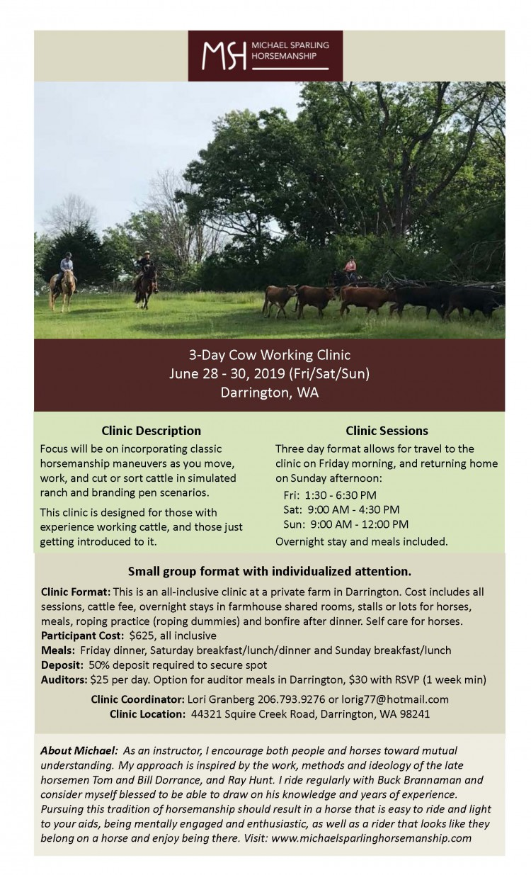 Cow Working Clinic with Michael Sparling @ Darrington | Washington | United States