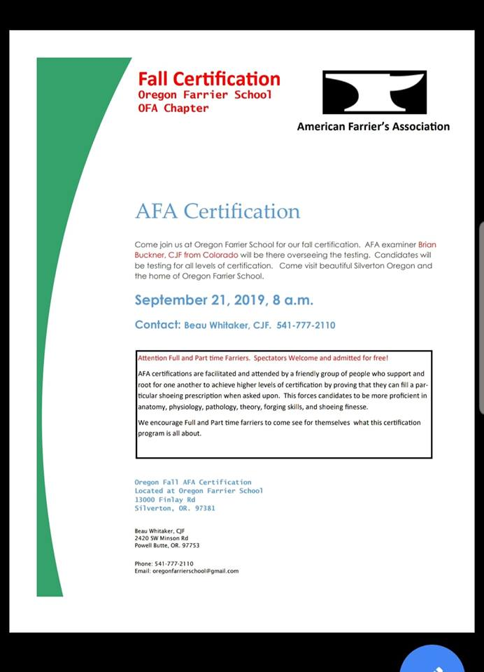 AFA Certification @ Oregon Farrier School | Silverton | Oregon | United States
