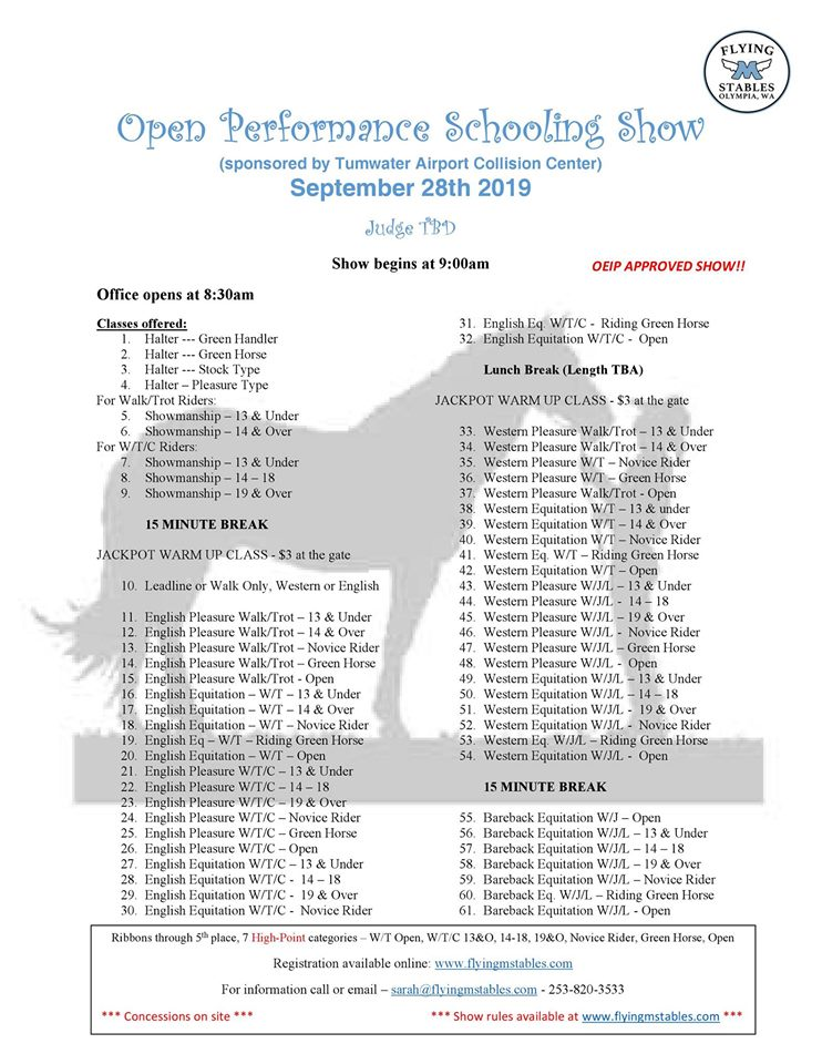 Open Performance Schooling Show @ Flying M Stables
