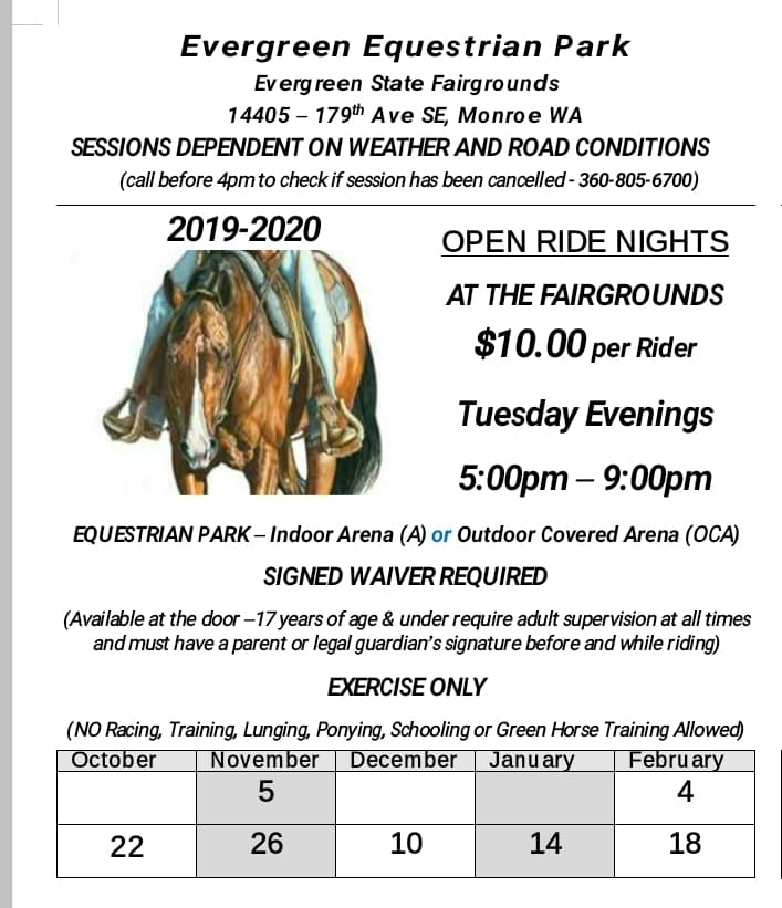Open Ride Night @ Evergreen Equestrian Park | Monroe | Washington | United States