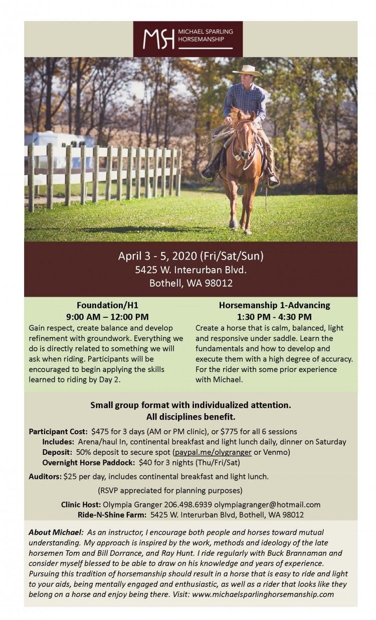 Michael Sparling Horsemanship Clinic - POSTPONED @ Ride-N-Shine Farm | Bothell | Washington | United States