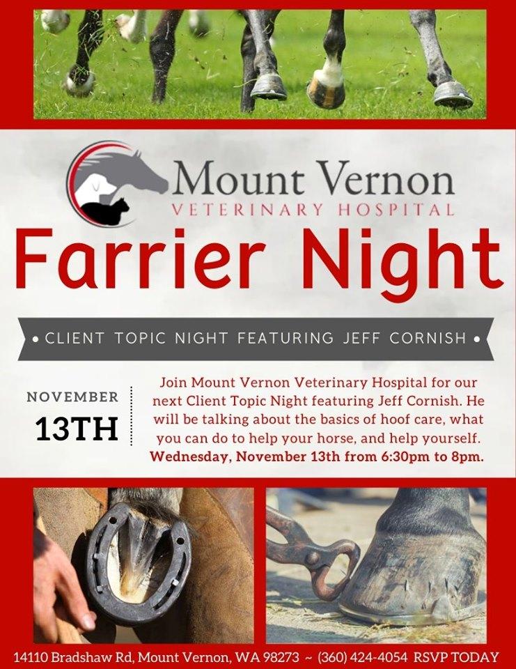 Farrier Night @ Mount Vernon Veterinary Hospital | Mount Vernon | Washington | United States