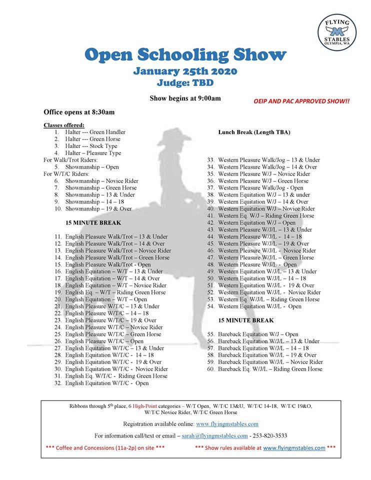 Open Schooling Show @ Flying M Stables | Olympia | Washington | United States