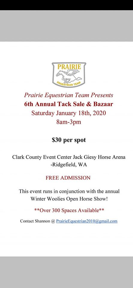 6th Annual Tack Sale & Bazaar @ Clark County Jack Giesy Horse Arena | Ridgefield | Washington | United States