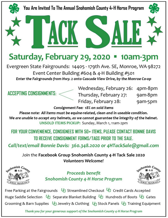 "Tack Sale - ""The Big One"" @ Evergreen State Fairgrounds - Buildings #604 and #501 