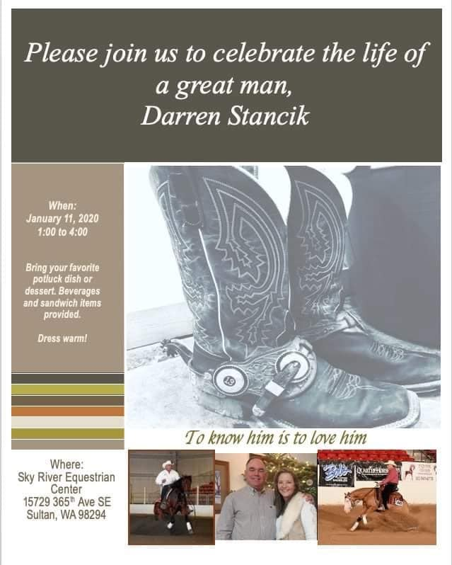 Celebrate the Life of Darren Stancik @ Sky River Equestrian Center | Sultan | Washington | United States