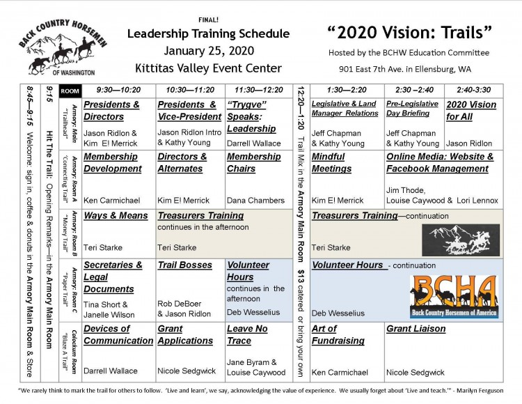 BCHW 2020 Leadership @ Kittatas Valley Fair Grounds | Ellensburg | Washington | United States