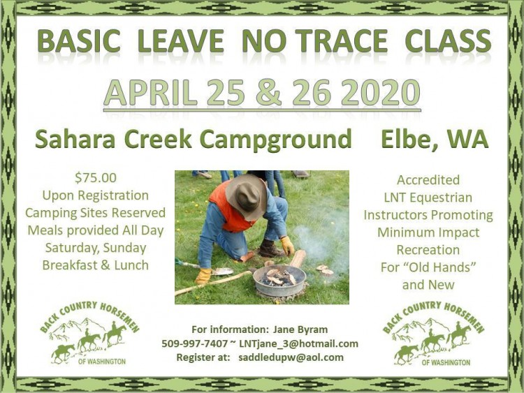 BCHW Leave No Trace Class @ Sahara Creek Camp: Elbe Hills Nicholson Horse Trail System | Elbe | Washington | United States